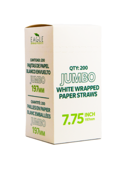 7.75″ Jumbo White Wrapped Paper Straws