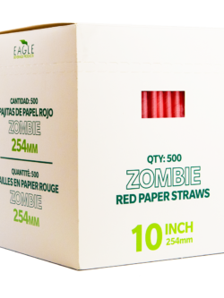 10″ Zombie Red Paper Straws