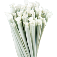 7.75″ Wrapped Giant Green Straws