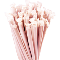7.75″ Wrapped Jumbo Red Straws